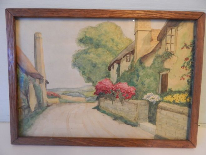Attractive Vintage Watercolour Painting, Framed, Possibly of the Cotswolds